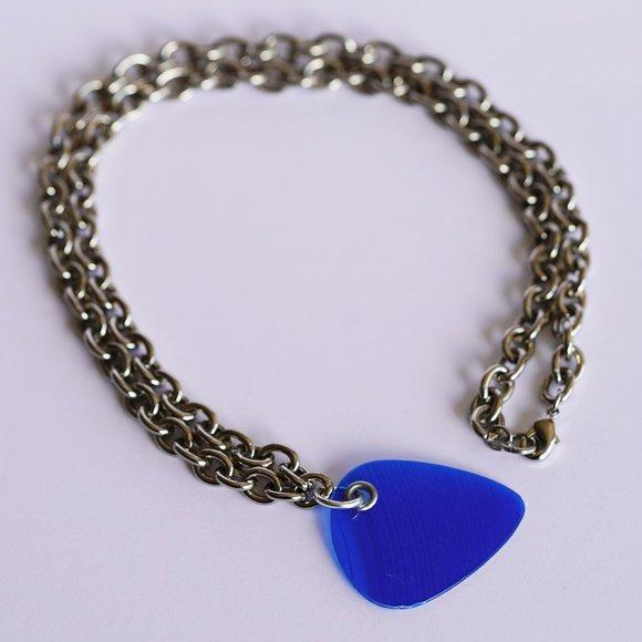 Blue Vinyl Record Pick Pendant Necklace
